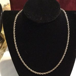 "Silver tone necklace, rope style.  Approx 18"" long"